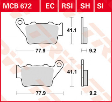 Bremsbeläge, Hinterachse, Triumph Daytona  675 R, 12-16