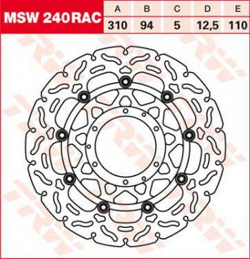 """Bremsscheiben, Vorderachse, Designscheibe """"Racing"""", Honda CBR 600 RR, 07-16"""