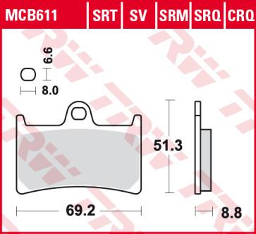 Bremsbeläge, Vorderachse, SRT Sinter Road & Track Sportmischung Belag, Yamaha YZF R6, 04-16