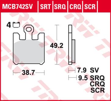 Bremsbeläge, Vorderachse, SRT Sinter Road & Track Sportmischung Belag, Kawasaki ZX 10 R, 04-05