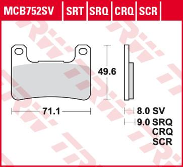 Bremsbeläge, Vorderachse, SRT Sinter Road & Track Sportmischung Belag, Suzuki GSX R 750, 04-05