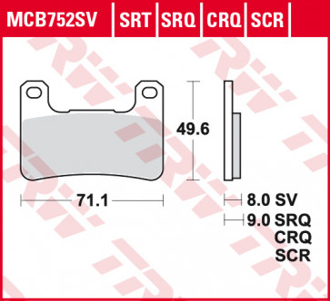 Bremsbeläge, Vorderachse, SRT Sinter Road & Track Sportmischung Belag, Suzuki GSX R 600, 08-10
