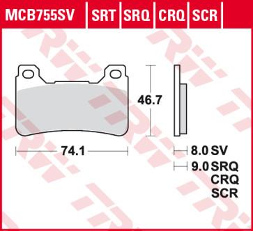 Bremsbeläge, Vorderachse, SRT Sinter Road & Race Sportmischung Belag, Honda CBR 1000 RR, 04-05