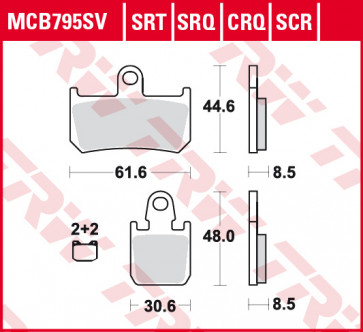 Bremsbeläge, Vorderachse, Hyper Carbon Belag - CRQ, Yamaha YZF R1, 07-14