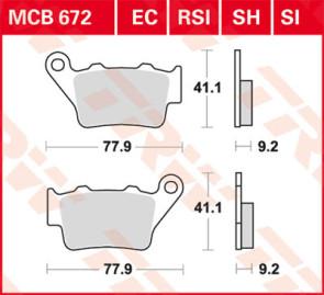 Bremsbeläge, Hinterachse, Triumph Daytona 675, 12-16
