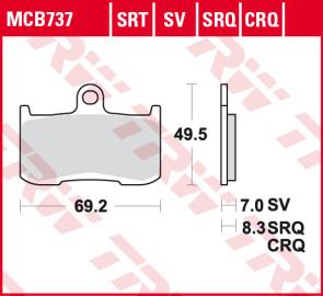 Bremsbeläge, Vorderachse, SRT Sinter Road & Track Sportmischung Belag, Triumph Daytona 675, 06-11