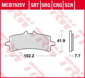 Bremsbeläge, Vorderachse, SRT Sinter Road & Track Sportmischung Belag, Ducati 1098, 07-08