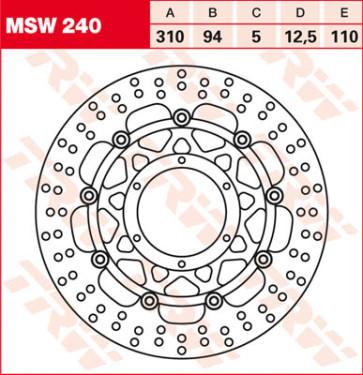 Bremsscheiben, Vorderachse, Honda CBR 1000 RR, 04-07