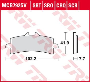 Bremsbeläge, Vorderachse, SRT Sinter Road & Track Sportmischung Belag, Triumph Daytona  675 R, 12-16