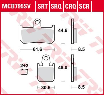 Bremsbeläge, Vorderachse, SRT Sinter Road & TRack Sportmischung Belag, Yamaha YZF R1, 07-14